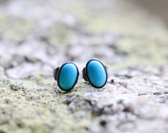 Oval Turquoise Earring Studs, Sterling Silver Post Earrings with 4x6 mm stones