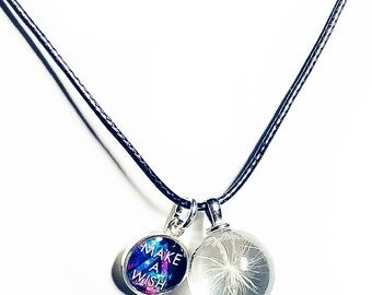 Dandelion Necklace, Wish Necklace, Good Luck Charm. Make a Wish, Real dandelion seed in glass, Black Leather Necklace and Charms