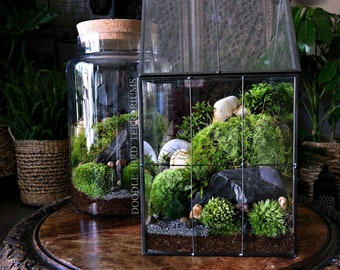 Large Greenhouse Moss Terrarium with Landscape Scene in Geometric House-shaped Vessel