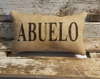 "Burlap Abuelo 11"" x 6"" Stuffed Pillow Father's Day Or Burlap Birthday Gift"