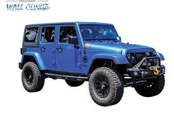 Jeep JK Blue, Wall Graphic Decal, Man Cave Decor, Garage Wall Decor, Car Wall Stickers, Wall Decals, Wall Decal, Boys Room, Jeep JK Blue