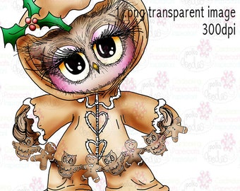 Twiggy & Toots Owl Kerstmis onesie peperkoek zwart-wit digitale stempel