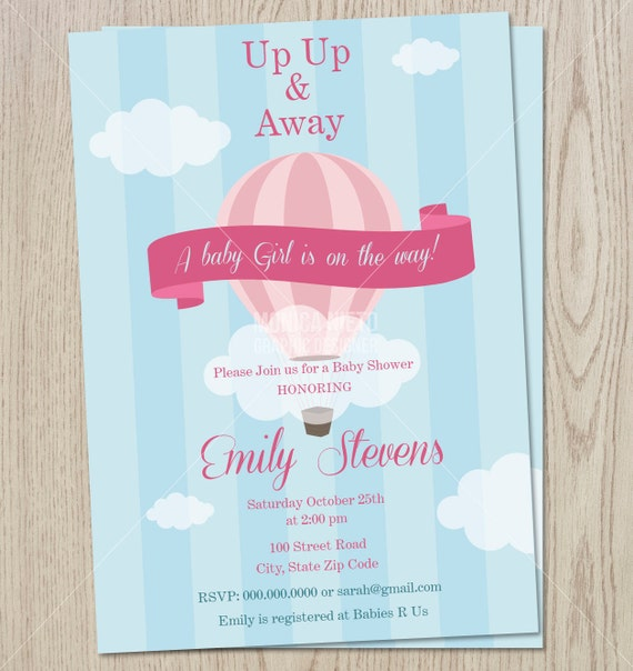 Printable custom hot air balloon baby shower retro hot air printable custom hot air balloon baby shower retro hot air balloon birthday invitation up and away invite boys or girls invitation filmwisefo Image collections