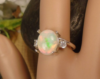 Ethiopian Fire Opal Birthstone 2 Accent Gems Ring, Solid Sterling Silver, 2.39 Cts 11.2 x 9 mm Natural AAA+++ Ethiopian Opal