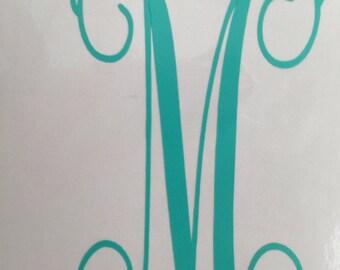 Monogram, iPhone Decal, Laptop Decal, Vinyl Lettering, Vine Monogram, 3 inch decal