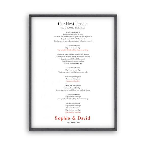 Personalised first dance wedding lyrics print stopboris Gallery