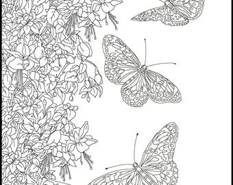 Butterfly Adult Coloring Page - Printable Coloring Page for Butterfly lovers -Gift Coloring Page-Coloring Page for Adults-Printable Coloring