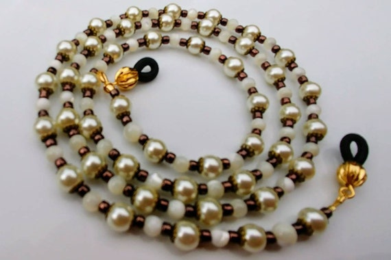 Glasses Chain, Old World White Glass Pearl Eyeglass Chain