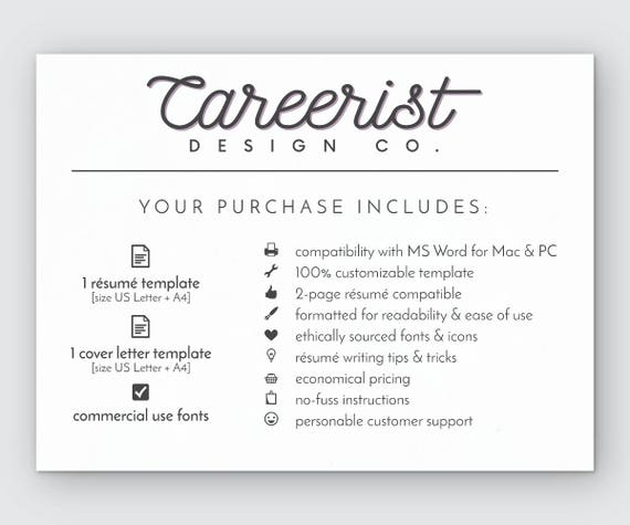 resume template modern resume resume for word cv template cover letter resume instant download minimalist professional resume design - Cover Letter For A Resume Example