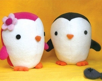 Cute Penguin Pattern - soft toy sewing pattern PDF instant download