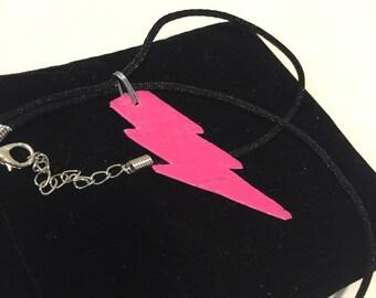 Neon Pink Lightning Bolt Necklace