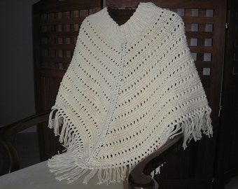 Knitted Ladies Poncho - Ecru 100% Cotton