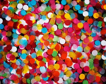 Mini White, Blue, Red, Green, Pink, Yellow and Orange 'Hundreds and Thousands' Tissue Paper Confetti