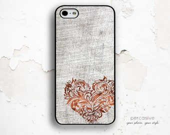 iPhone 6 Case Floral Heart - Wood Heart iPhone 6 Plus Case, iPhone 5c Case Wood Print, iPhone 5 Cover, Floral Heart iPhone 6 Cover :1031