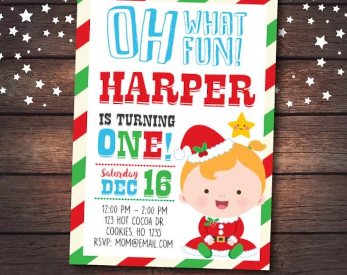 Christmas Birthday Invitation, Christmas first birthday Invitation, Little Santa Invitation, Christmas Invitation, DIGITAL