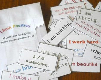 Lunchbox Love - 48 positive affirmations, thoughtful, cheer up, statements, self esteem