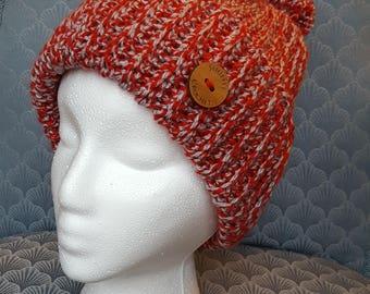 Womans Crochet Ribbed Beanie with Pom Pom - Red