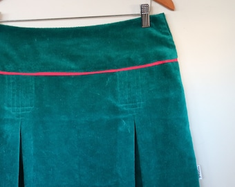velveteen in teal...ladies midi skirt with yoke waistband and inverted pleats in vintage fabric