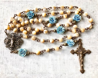 Rosary wirewrapped Bronze Saint Mary Madgalene mother of pearl hearts medal  catholic Jewelry by Rosenkranz-Atelier