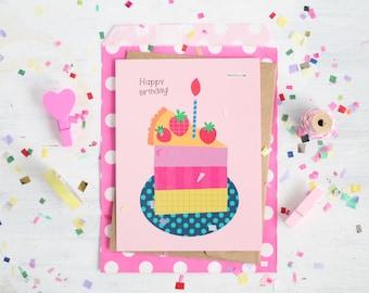Happy Birthday Card, Cute Cake Card, Sweet Design, Celebrate, Surprise, Flat Card, Celebration