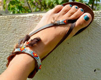 Handmade Womens Sandals, Leather Womens Sandals, Sandals Women, Boho Sandals, Hippie Sandals, Beaded Sandals, Gladiator Sandals,Greek Sandal