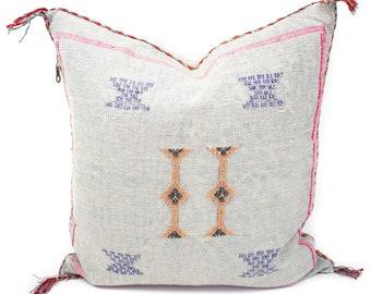 Cactus Silk Pillow Cover, Sabra Silk Pillow, Moroccan Cactus Silk Pillow, Gray Sabra Silk Pillow Cover, Moroccan Sabra Silk | 19x19 | Cammi