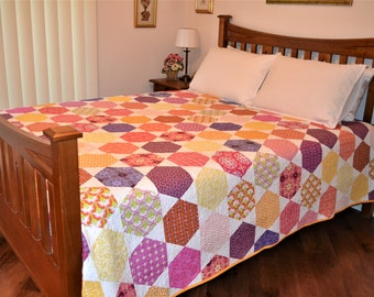 Colourful Hexagons Quilt
