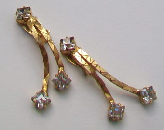 Clip On Crystal Glass Stones in Gold Tone Double Dropper Earrings