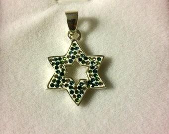 Star of David Sterling silver with cz zircons pendant necklace 2 cm from Jerusalem