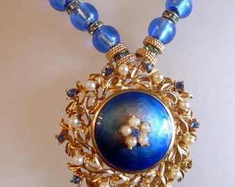 Blue Enamel Necklace - Vintage Blue Guilloche' Enamel Pendant Brooch - Signed - Blue Rhinestones And Pearl Necklace