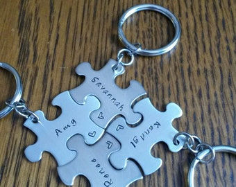 Hand Stamped Best Friends Puzzle Piece Keychain - Family Puzzle Piece Keychain - Friends Gift - Family Gift -  Wedding Party Gift