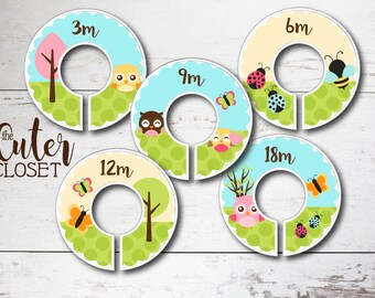 Baby Closet Dividers - Clothes Organizers - Daytime Flutters- Clothes Organizers Nursery Decor Baby Shower Gift - Blue Green Yellow