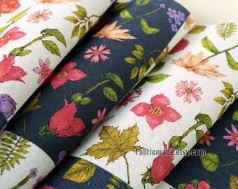 Floral Linen Fabric, Shabby Chic Fabric, Red Pink Flower Leaves Plaid Linen Fabric - 1/2 Yard