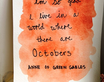 Anne of Green Gables October Watercolor