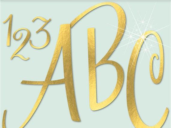 Gold Foil Alphabet Digital Clipart Letters Numbers Symbols