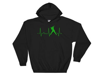 Softball Mom Hoodie - Womens Softball Hoodie - Softball Mom Gear - Green Softball Heartbeat - Softball Dad Gear - Cute Softball Sweatshirt