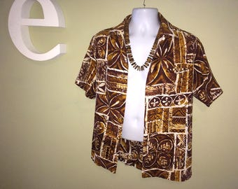 "Men's Vintage 60s Hawaiian Shirt MALIHINI Brown Tapa Cloth Print Barkcloth Tiki Oasis Hukilau Mad Men Polynesian Tribal Size Large 46"" Chest"