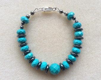 Sinkiang Turquoise and Hematite Bracelet, Vibrational Jewellery, Hematite Range, Pyrite, Sterling Silver, Master Communicator, Stabilising