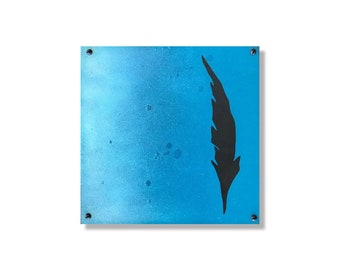 Blue Fade Feather | Metal Wall Art