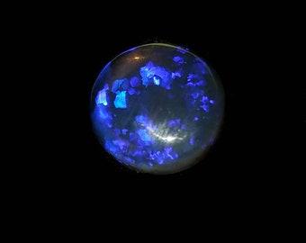 2.6ct Natural Solid Black Crystal Opal Cut Gemstone | Blue & Purple Flash | Round, 11x11x3.8mm | Lightning Ridge Australia| Jewelry Ready