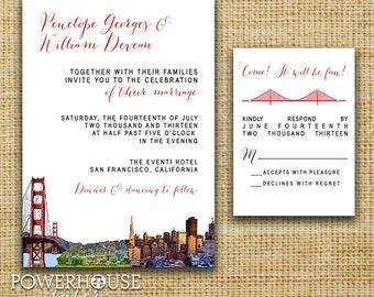 San Francisco Skyline Wedding Invitation : Bridge & Painted Ladies