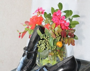 SAVE NOW 50% Off Navy Blue Leather Mary Jane  T- Strap Shoes by Auditions 8-8 1/2