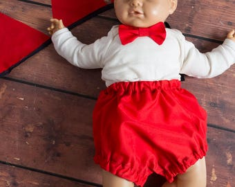 Nappy Cover, Bow Tie  & 2m Matching Bunting - Cake Smash / Photo Shoot Outfit 12 Months - Red / Navy