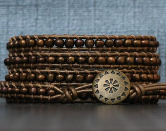 READY TO SHIP metallic bronze beaded wrap bracelet - seed beads on bronze leather - simple  modern casual bohemian jewelry - brown