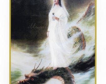 Kwan yin dragon etsy kuan yin on her dragon hand embellished card thecheapjerseys Gallery