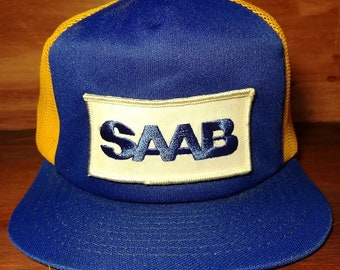 Vintage SAAB automobile blue and yellow snapback trucker hat