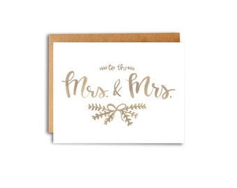 To The Mrs. & Mrs. Watercolor Card Handlettered Handlettering