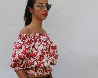 SALE!Free Size Red Flower Cropped Top Off  Shoulder  Big Sleeves made in ORGANIC Cotton  and Handmade Print