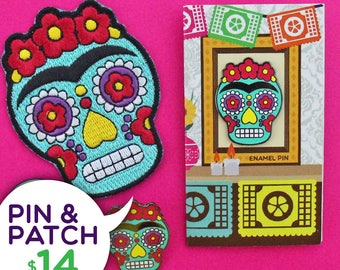 Pin & Patch Bundle - Frida Kahlo Sugar Skull Enamel Pin and Iron-Patch - Patches for Jackets