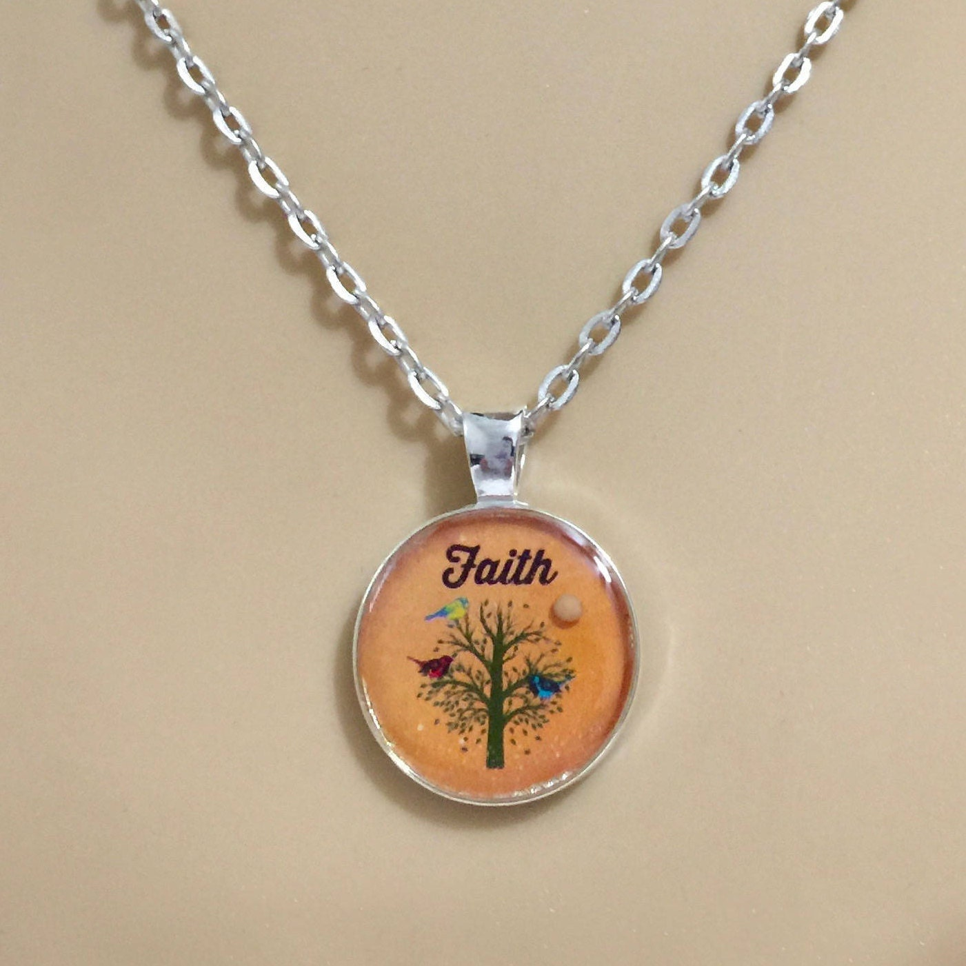 Christian jewelry orange mustard seed necklace faith jewelry gift christian jewelry orange mustard seed necklace faith jewelry gift for her tree of life necklace silver and orange link chain necklace aloadofball Choice Image